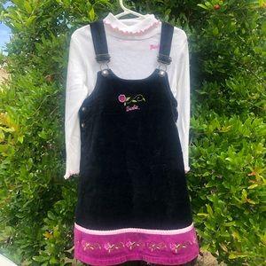 BARBIE LONG SLEEVE WITH BLACK VELVET OVERALL DRESS